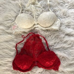 Pink red and white bra